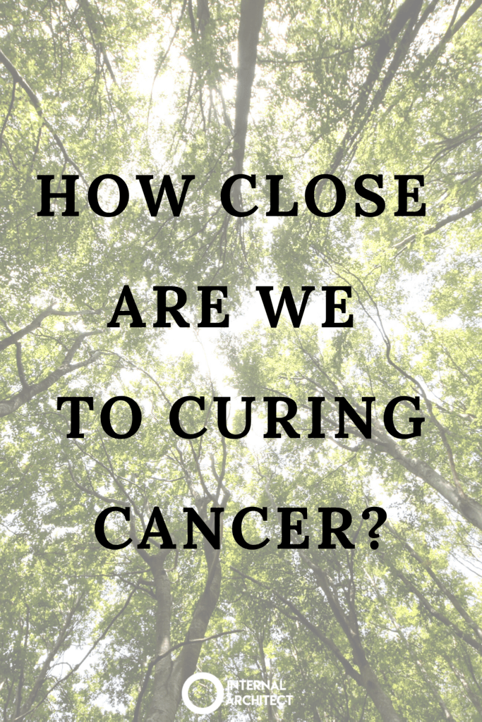 """looking to the sky through green trees with text """"how close are we to curing cancer?"""""""